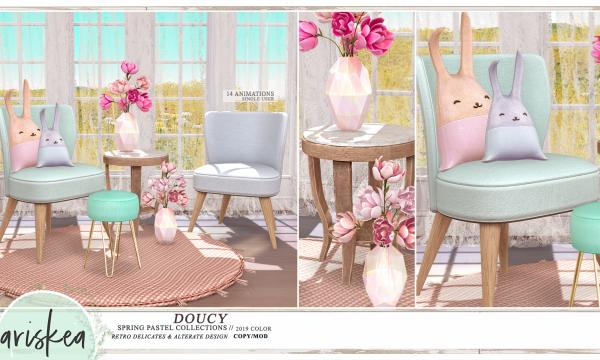 Doucy Collection.  Fabric Chair: L$249 / Magnolia Flower: L$149 / Pouf: L$129 / Rug: L$159. Fatpack is L$1,899.
