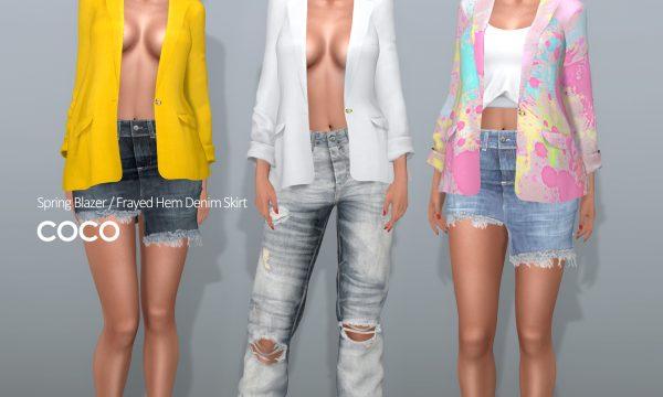 Spring Blazer & Frayed Hem Denim Skirt. ★ Blazer: L$250 each / Fatpack is L$1,499. Skirt: L$225 each / Fatpack is L$799.