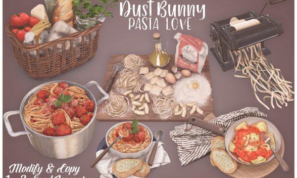 Pasta Love Set. Pasta Board: L$175 / Ravioli: L$125 / Pasta Machine: L$75 / Pot: L$150 / Basket: L$175.