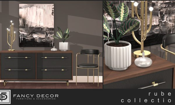 Ruben Collection. Console Dresser: L$275. Chair: L$250. Lamp: L$175. Plant: L$175. Canvas: L$150. Fatpack is L$1.000.
