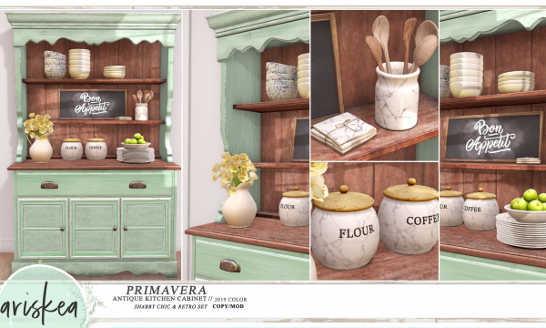 [Primavera]. Cabinet is L$199 / Bowls is L$149 / Blackboard is L$129 / Coaster is L$89 / Utensils is L$99 / Vase is L$169 / Coffee & Flour is L$129 / Plates and Apple is L$129. Fatpack is L$1,299. 🎁