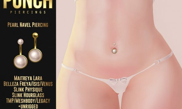 Pearl Navel Piercing. Packs are L$250 each / Fatpack is L$650. ★ 🎁