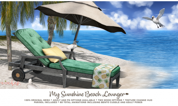 My Sunshine Beach Lounger. PG is L$215. Adult is L$299. 🎁