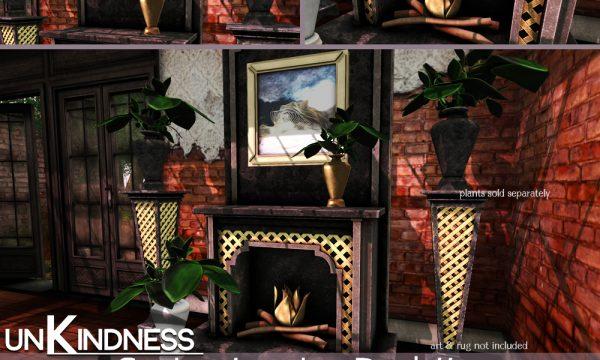 Spring Trellis Fireplace & Stand / Spring Lattice Gate Set. Fireplace Light & Dark is L$299. Gate Light & Dark is L$299.