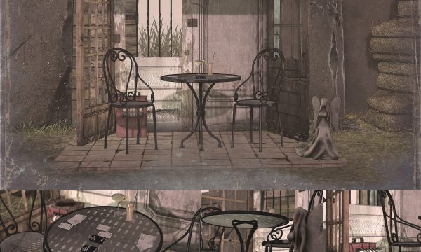 Recycled Garden Nook. Nook is L$275, Table Set is L$275, Decor Set is L$175. Fatpack is L$675.