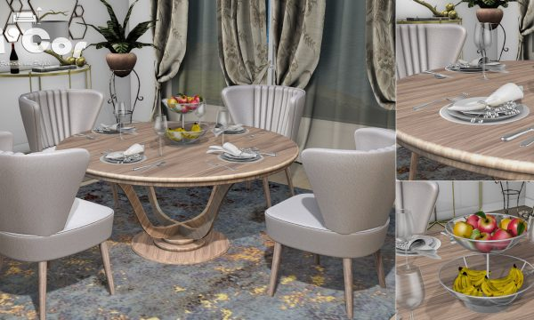 Rayon Dining Set. Dining Set is L$699. Place Setting is L$149. Fruit Bowl is L$149.