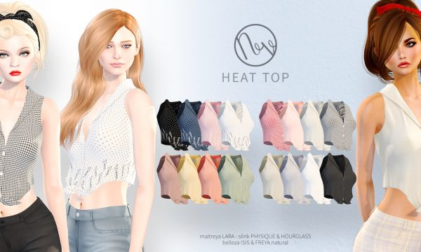 Heat Top & Bingo Shorts. Tops is L$200 each. Shorts is L$200 each. Fatpacks are L$600 each. Demo Available. ★