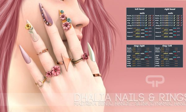 Dhalia. Sandals is L$199. Nails & Rings is L$199. Demo available.  ★