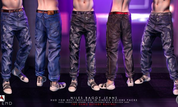 Niles Baggy Jeans. Individual L$319 each. Fatpack is L$1,499.