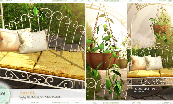 Bambi Garden Seat & Hanging Plants.  Pillow Gold Dots - L$89, Hanging Basket Plant [1] - L$199, Hanging Basket Plant [2] - L$199, Garden Seats L$299. Fatpack is L$699.