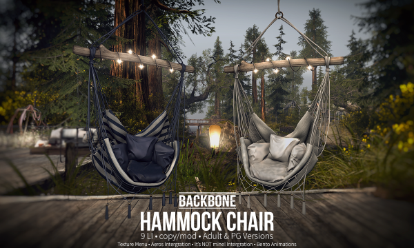 Hammock Chair. PG is L$499. Adult is L$1,199.