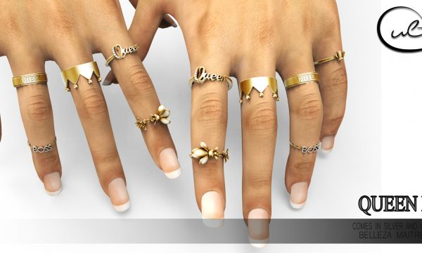 QUEEN BEE RINGS GOLD/SILVER. L$269. Demo Available ★