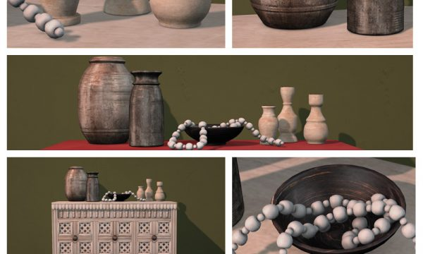 Meera Console Set. Meera Vases - L$95, Meera Bowl w/ Beads - L$125, Meera Candlesticks - L$95. Fatpack is L$1,900.