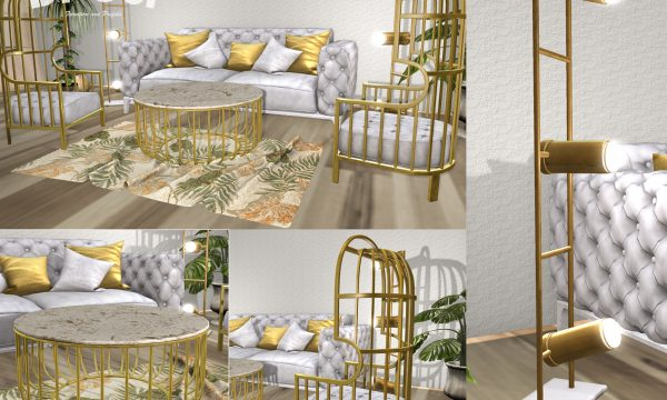 Stella. Coffee Table, Rug - L$99 each, Armchair, Floor Lamp - L$199 each,  Sofa - PG L$799  Adult L$999. Fatpacks: PG - L$1,099  / Adult - L$1,499.