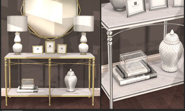 Colleen Silver & Gold. Decor Pieces varying between L$125 - L$200 each.