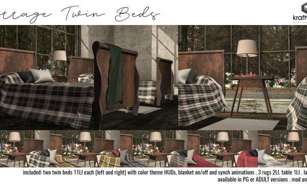 Cottage Twin Beds Set. PG L$399 | Adult L$499.
