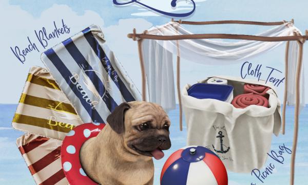 Gone To The Beach.  Beach Blanket - L$75, Beach Ball - L$65, Pug Pal - L$65, Cloth Tent - L$65, Canvas Picnic Bag - L$65. Fatpack L$300.