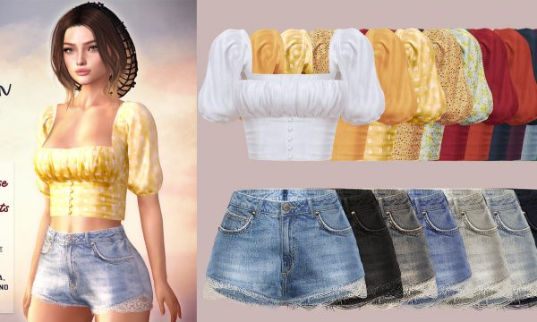 The Devon Blouse & Lulu Denim Shorts. Individual L$230 each | Fatpack L$1,300 each.  Demo Available ★