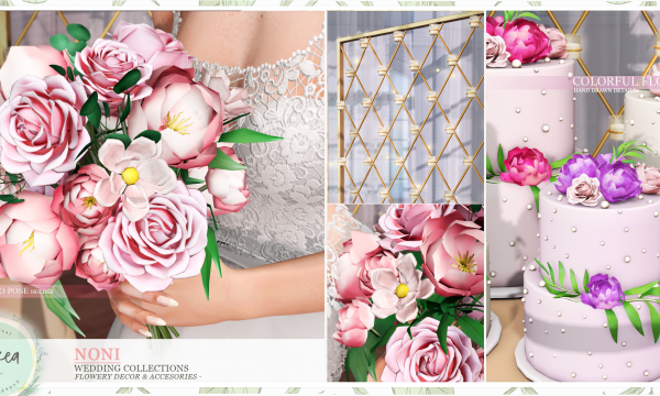 Noni. Wedding Flowers L$199 each. Candle Wall is L$229 each. Wedding Cake is L$189 each. Table is L$189. Fatpack is L$1,999.