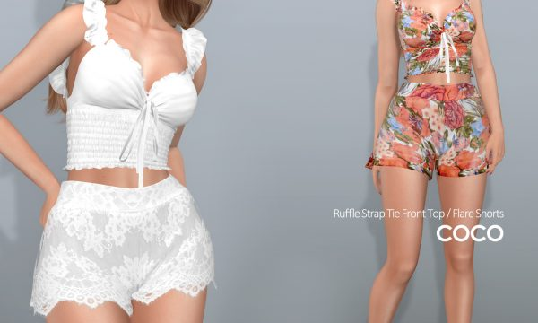 Ruffle Strap Tie Front Top & Flare Shorts. Top is L$250 each. Shorts is L$200 each. Fatpack is L$999 for tops / L$799 for shorts. Demo available ★.