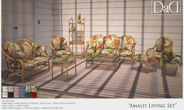 Amalfi Living Set. PG is L$450 each. Adult is L$650. Coffee Tables are L$90 each. Shelf with potplants is L$320. Various Potplants L$290. Fatpack is PG is L$1,790. Adult is L$2,250.
