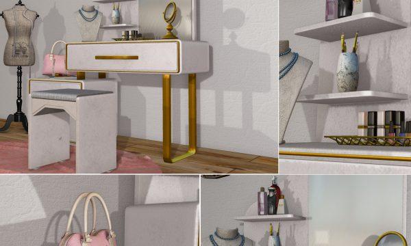 Vanity Set. Handbag Clutter L$99 / Cosmetics L$149 / Table Mirror L$99. Fatpack is L$699.