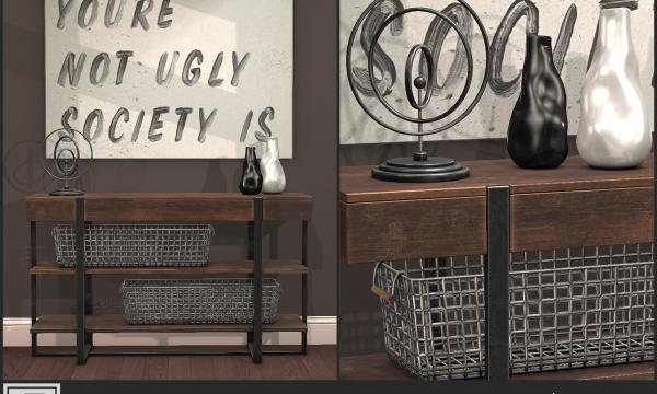 Damon. Vase White & Black L$125 each. Baskets L$125 each. Sculpture L$150. Ugly Society Canvas L$175. Fatpack is L$750.