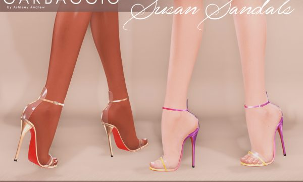 Susan Sandals. L$99 each. Mini Packs are L$299 each each. Fatpack is L$499. Demo available.