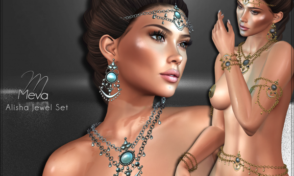 Alisha. Earrings is L$220. Headpiece, Bracelet, Upperarm Chains, Bellychains is L$240 each. Necklace is L$260.. Fatpack is L$1,000. Demo available.