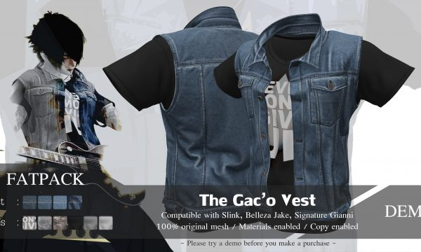 Gaco Vest. L$349 each. Fatpack is L$899. Demo available ★.