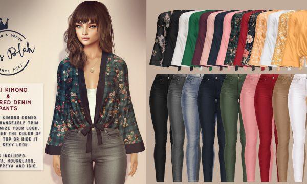 Cali Kimono & Colored Denim Pants .  each. Fatpack is Kimono L$1,300  Pants L$1,000. Demo available.
