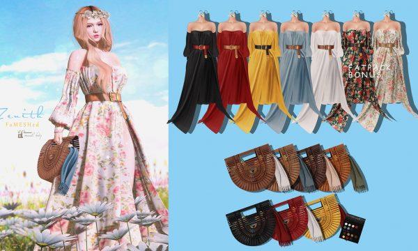 Off Shoulder Long Dress & Ratten Hand Bag.Dress L$300 each. Mini Packs is L$350. Fatpack is L$1,100. Demo available.