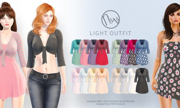 Light Outfit. Mini Packs is L$350 each. Fatpack is L$1,050. Demo available ★.