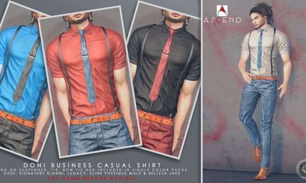 Ascend - Doni Business Casual Shirt. Individual L$299 | Fatpack L$1,399 Demo available.