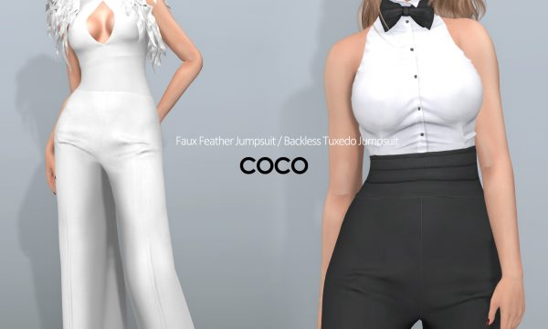 COCO - Backless Tuxedo Jumpsuit | Faux Feather Jumpsuit. Individual L$250 | Fatpacks L$799 - L$999 Demo Available ★.