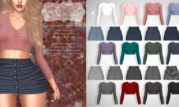 ChicModa - Delia Top  | Mira Denim Skirt. Individual Top L$199 | Top Fatpack L$1,199 | Individual Skirt L$199 | Skirt Fatpack L$1,199 | Megapack L$1,899 Demo available.