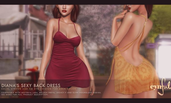 Cynful - Diana's Sexy Back Dress. Individual L$299 each | Fatpack L$1,999. Demo available ★