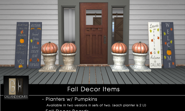 Galland Homes - Fall Porch Decor. Boards L$50 each | Boards Fatpack L$175 | Pumpkin Planter L$250 each.