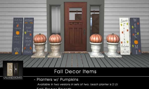 Galland Homes - Fall Porch Decor. Boards L$50 each | Boards Fatpack L$175 | Pumpkin Planter L$250 each.