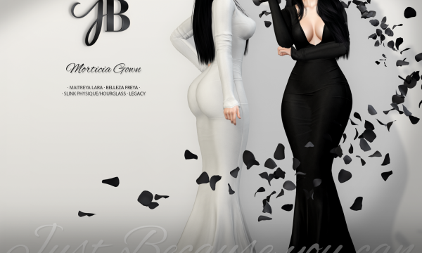 Just BECAUSE - Morticia Gown. Individual L$249 each | Fatpack L$1,299 Demo available.