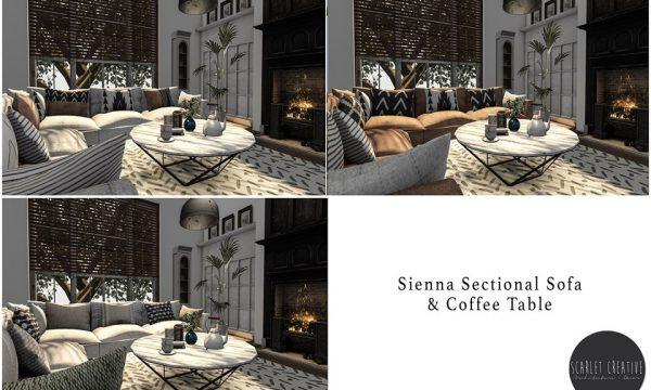 Scarlet Creative - Sienna sectional Sofa and Coffee Table. L$499.