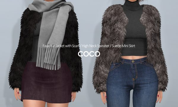 COCO - Faux Fur Jacket | High Neck Sweater | Suede Mini Skirt. Individuals L$150 - L$ 275 | Fatpacks L$699 - L$799 Demo Available.
