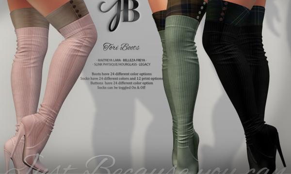 Just Because - Tae Shirt, Trisha Skirt & Tori Boots. Individual L$249 each | Mini Packs L$649 each | Fatpacks L$1,299 each Demo Available.