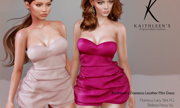 Kaithleen's - Damiena Leather Mini Dress. Individual L$249 | Fatpack L$1799 Demo Available ★.