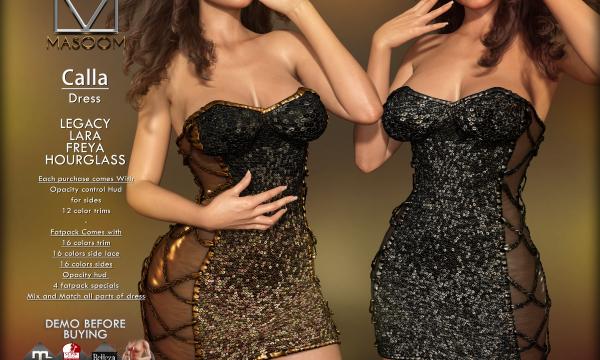 [[ Masoom ]] - Calla Dress. Individual  L$255 | Mini Pack L$555 | Fatpack L$1555 Demo Available.