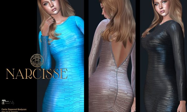 Narcisse - Carla Zippered Bodycon Dress. Individual L$199 each | Fatpack L$899 Demo Available.