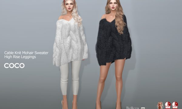 COCO - CableKnitMohairSweater & HighRiseLeggings. Individuals L$200-L$250 each | Fatpack L$1,299 & L$699. Demo Available ★.