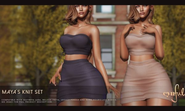 Cynful - Maya's Knit Set. Individual L$299 each | Fatpack L$1,999. Demo Available.