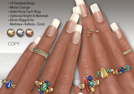 EarthStones - Earthstones Bento Rings. Individual L$799 each | Fatpack L$1499. Demo Available.