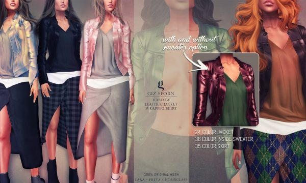 Giz Seorn - Harlow Leather Jacket & Harlow Wrapped Skirt. Individual L$199 each | Fatpack L$1299 each . Demo Available ★.